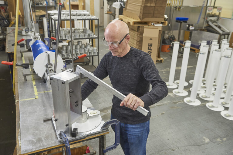 Engineer using equipment in SafeGuard facility