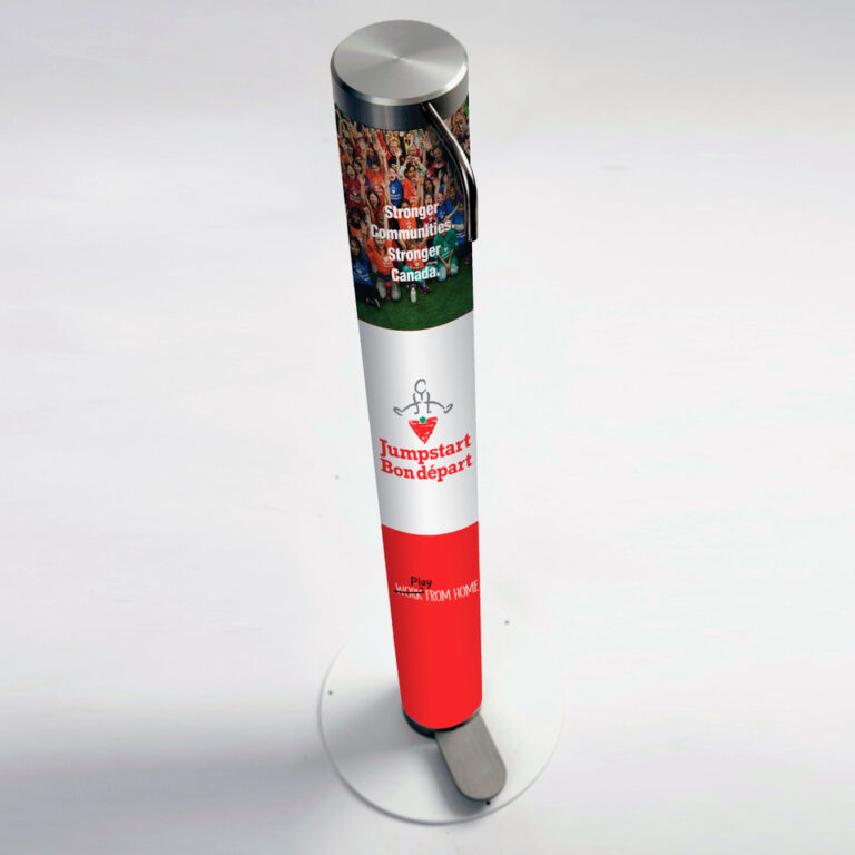 XtraSafe Sanitizer Dispenser mockup with Canadian Tire branded sleeve