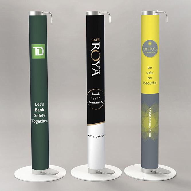 Three XtraSafe Sanitizer Dispenser mockups with branded vinyl wraps