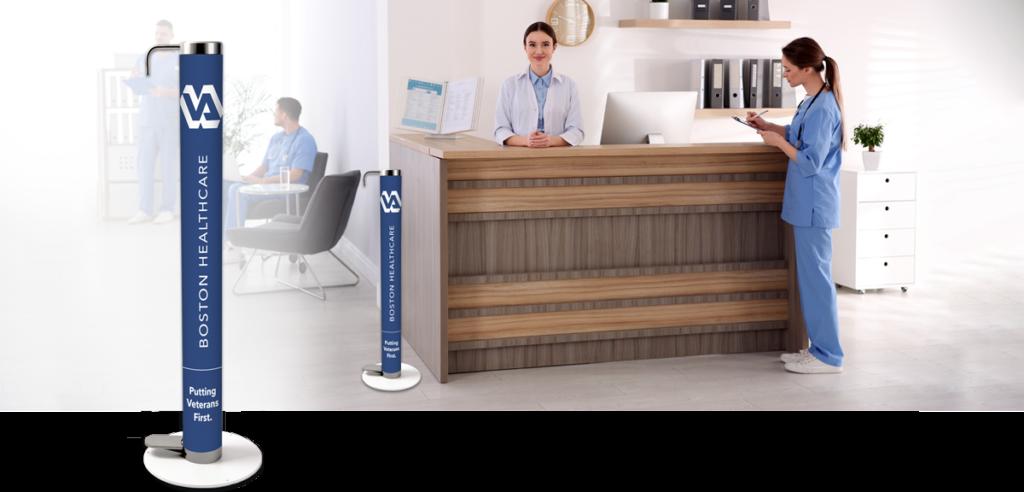Branded XtraSafe Sanitizer Dispenser at Boston Healthcare clinic reception desk mockup