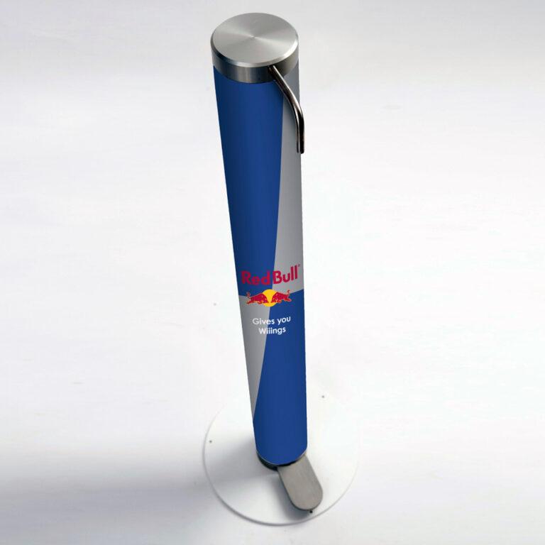 XtraSafe Sanitizer Dispenser mockup with Red Bull branded sleeve