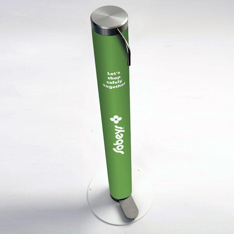 XtraSafe Sanitizer Dispenser mockup with Sobeys branded sleeve