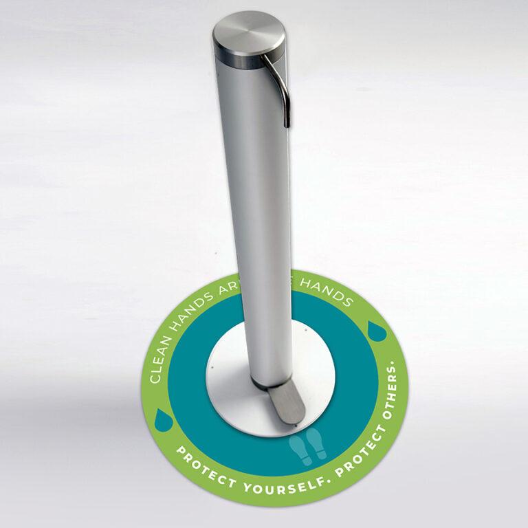 "XtraSafe Sanitizer Dispenser mockup with ""clean hands are safe hands"" floor decal"