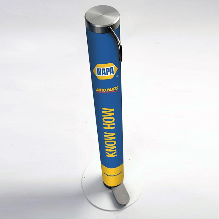 XtraSafe Sanitizer Dispenser mockup with Napa Auto Parts branded sleeve