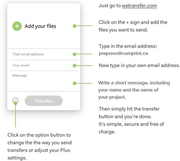 Instructions for WeTransfer artwork file upload